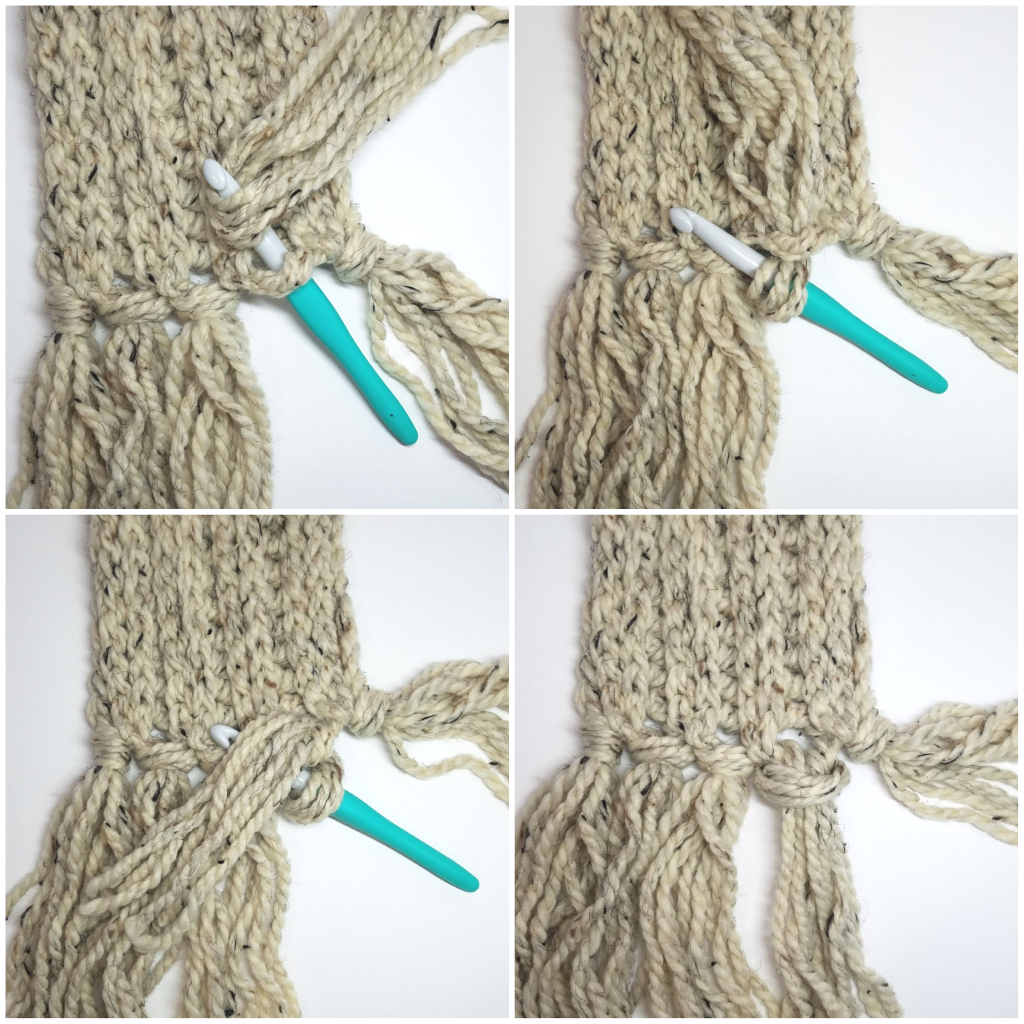 knit look crochet scarf how to attach fringe