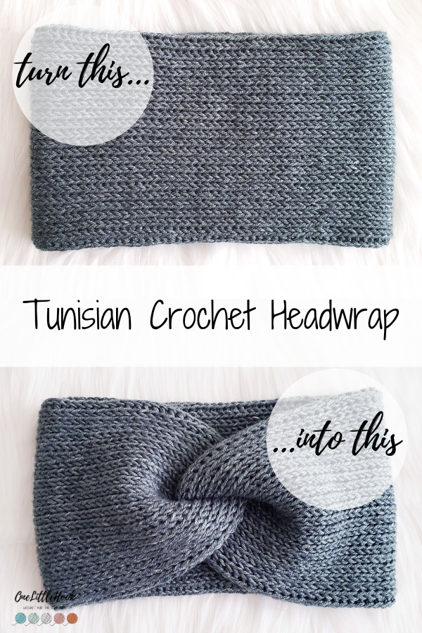 Tunisian crochet ear warmer