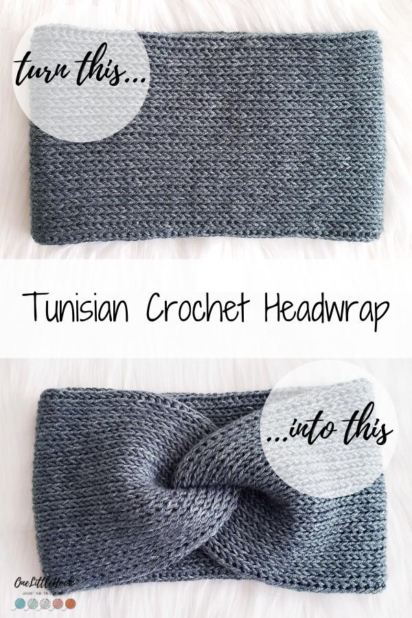 Tunisian crochet ear warmer