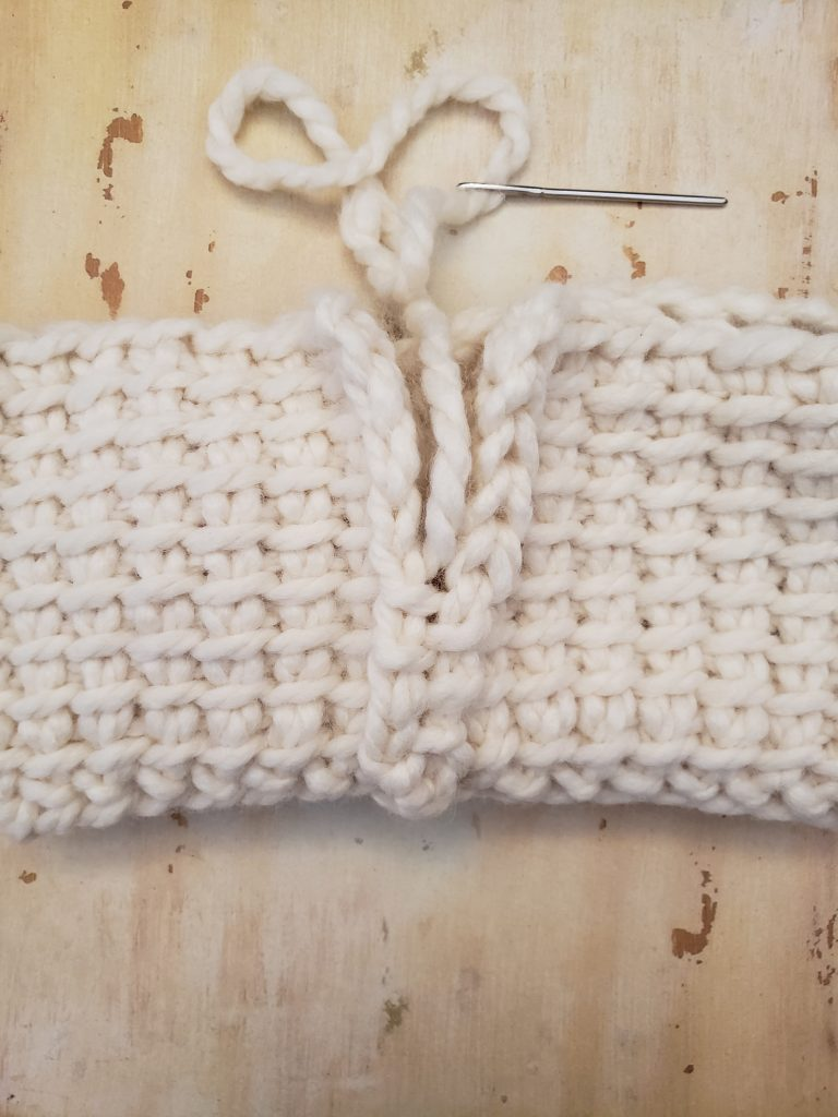 Tunisian Crochet Cable Ear Warmer Seaming