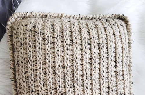 tunisian crochet pillow