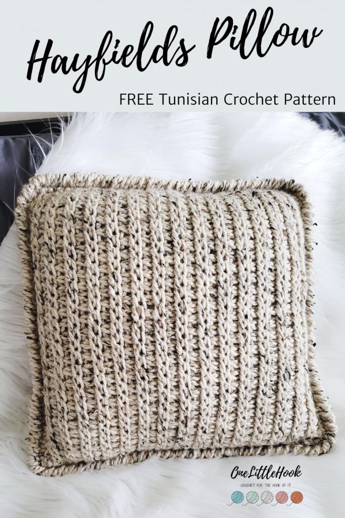 Tunisian Crochet Pillow Cover Free Pattern Onelittlehook