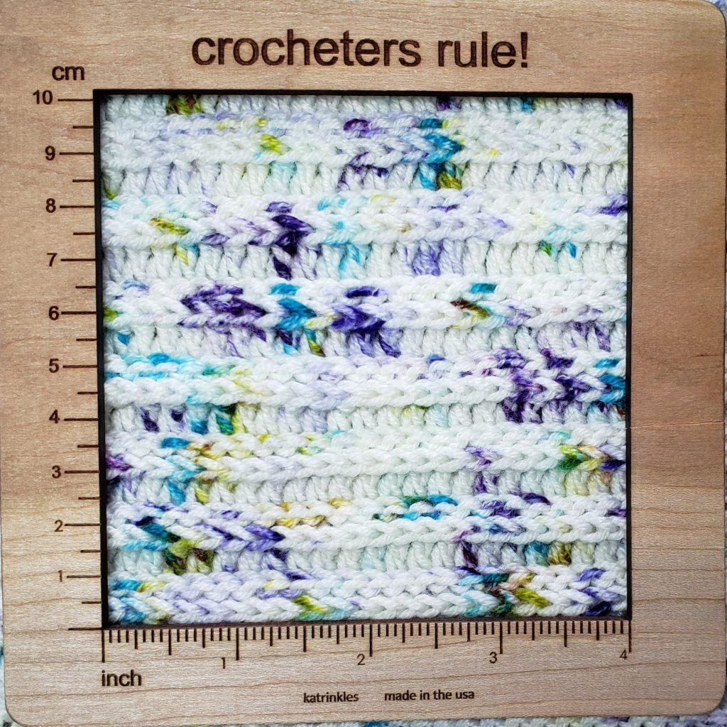 knit look crochet beanie gauge pic